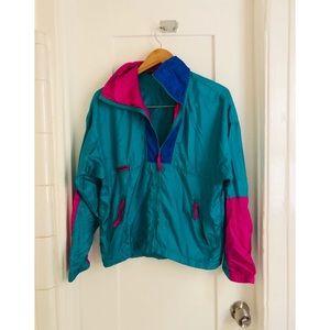 Columbia teal windbreaker Zip up sweatshirt jacket